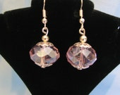 Pink Crystal Earrings faceted accented with Sterling Silver VERY PRETTY wedding bride
