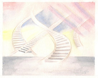 """STAIRS - 8""""x10"""" Watercolor painting by Masako"""