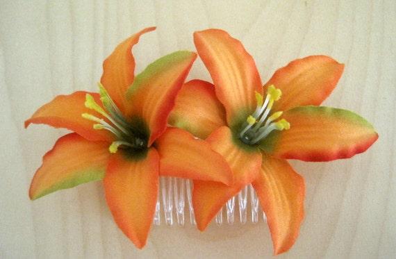Double Tropic Orange Lily Silk Flower Hair Comb