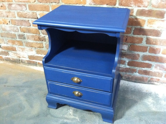 FREE NYC DELIVERY Painted End Table Side Table Nightstand Nantucket Blue Beach Cottage Chic