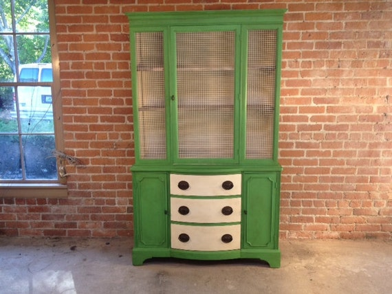 FREE DELIVERY Painted Hutch Cabinet Farmhouse Green  China Cabinet