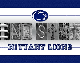 Penn State Nittany Lions Alphabetography Collage