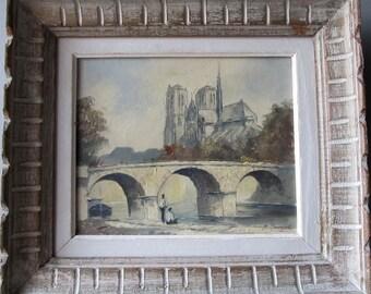 Parisian Souvenir Mid Century Original Oil Painting M. Janpol Notre Dame Springtime in Paris