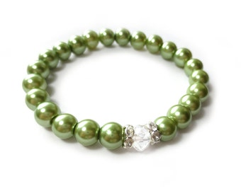 Spring Green Glass Pearl Stretch Bracelet