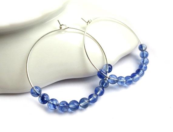 Denim Blue Glass Beaded Hoop Earrings