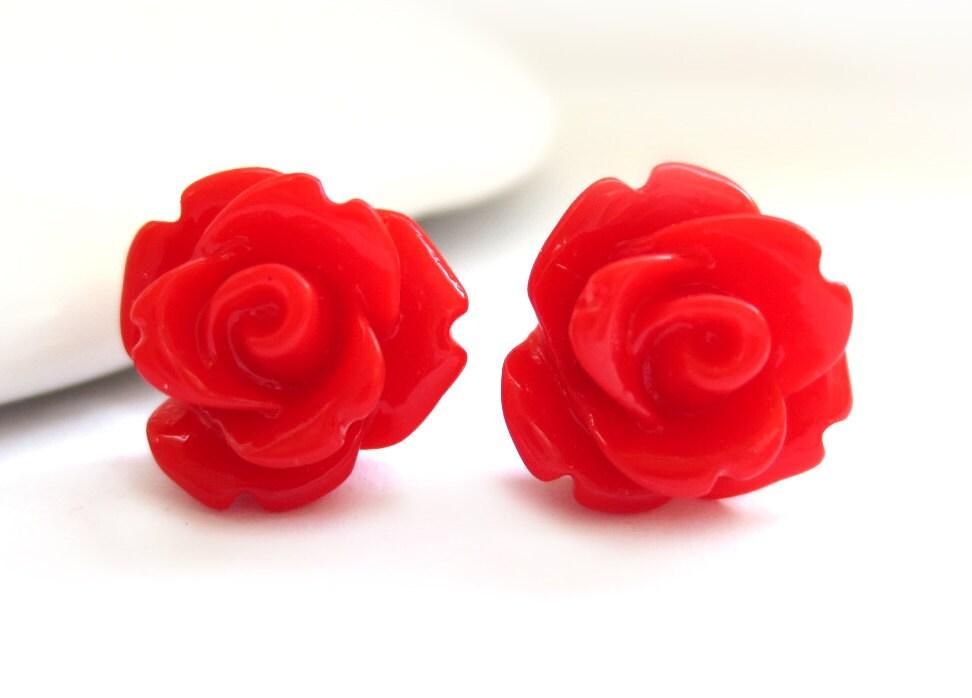 Red Rose Earrings Rose Stud Earrings