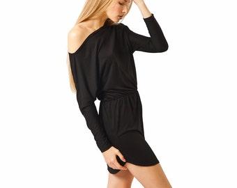 Short black dress, off the shoulder dress, mini long sleeve sexy dress, simple black dress