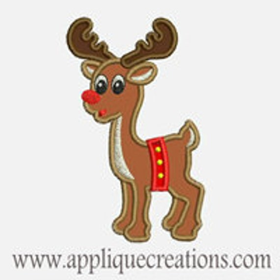 Rudolph Reindeer...Embroidery Applique Design...Three sizes for multiple hoops...Item1556.