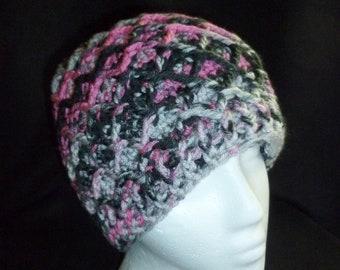 Beanie - Hand Crocheted Beanie Cap - Black, Pink and Grey