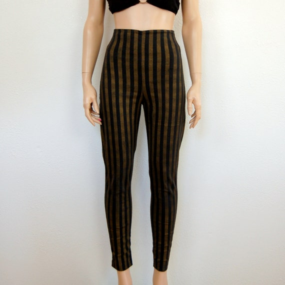 reserved for E ///////90s Vintage Pants/ High Waisted Striped Skinny Cigarette / S