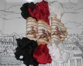 Scrunched Seam Binding ribbon, Crinkled Seam Binding Packaged French Tuxedo and Roses ECS