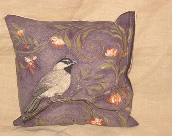 Shabby Chic Fun Throw Pillow with Bird Motif French Market Design Floral Handmade Pillow French Lavender