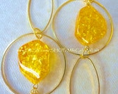 Golden Chains, Lemon Resin Beaded Dangle Hoop Earrings- LEMON ZEST