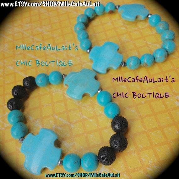 UNISEX / MENS Crackle Turquoise Howlite beads, Black Lava, Faceted Hematite, Celtic Square Cross Pendant Beaded Bracelet