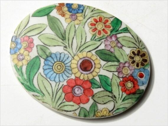 Art Deco Floral (1)  45 x 36 mm oval Bohemian Antique vintage hand painted porcelain cabochon E712-162