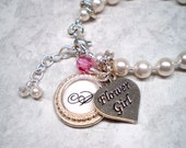 Flower Girl personalized pearl bracelet charm Bridal party crystal customize name initial words charms