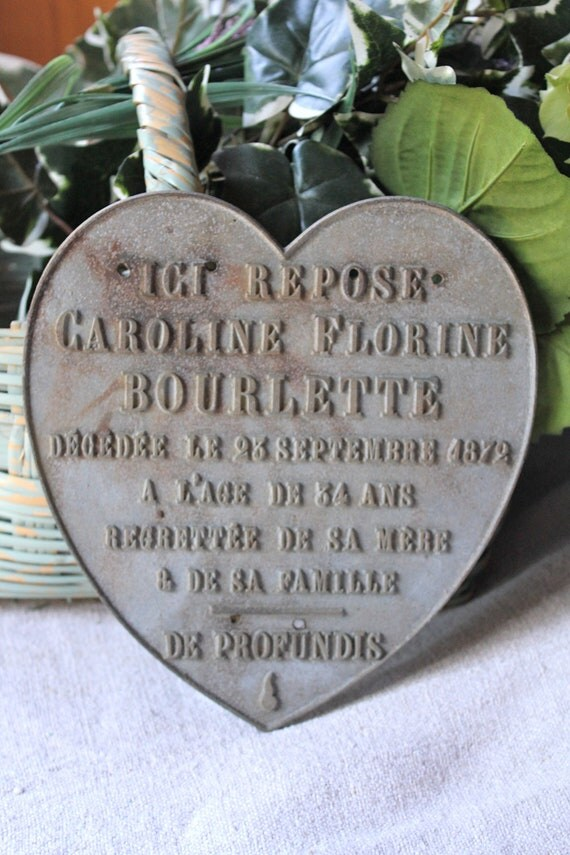 French heart memorial plaque - from 1872
