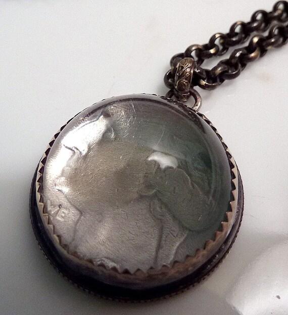 Money Magnifier Necklace Antique Glass Dome Pendant