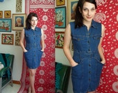 Blue Denim Mini Dress with Belt & Pockets