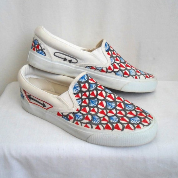 Vintage Hand Painted Vans Style Shoes