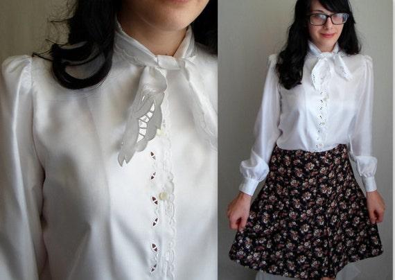 White Lace Bow Tie Secretary Blouse