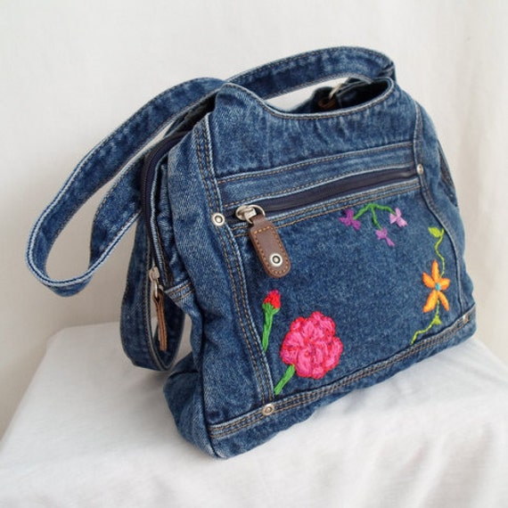 Embroidered Flower Denim Purse