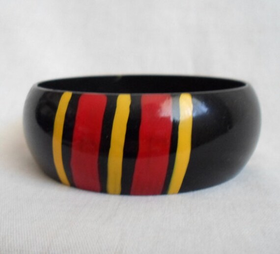 Red Black & Yellow Wooden Bangle