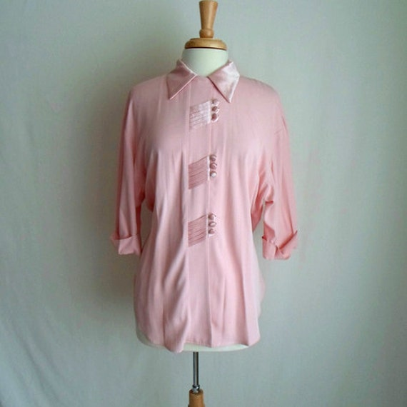 Pale Pink Blouse with Unique Collar & Buttons
