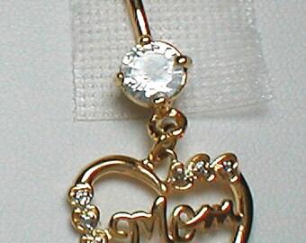 "Unique Belly Ring - Sterling Silver GP ""Mom"" Heart w/ Garnet"