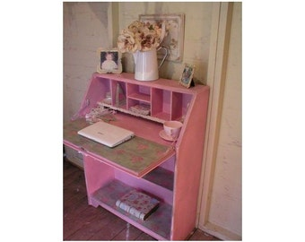 SOLD SOLD Shabby Distressed Painted Pink Bureau Desk Workstation Duck Egg & Shabby Roses