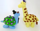 Bride and groom wedding cake topper, giraffe and turtle