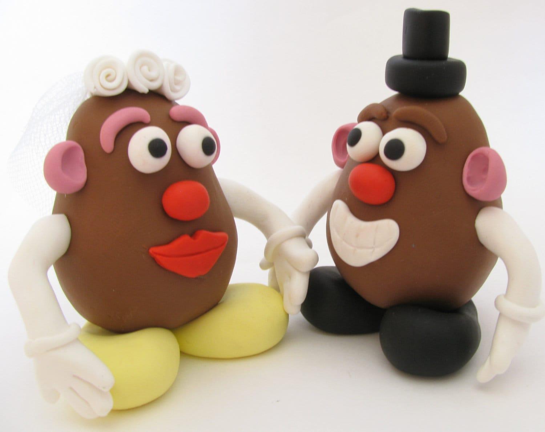 Mr and Mrs potato head wedding cake topper