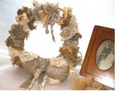 Burlap and Vintage Lace UPCYCLED wreath, for door, wall, or tabletop