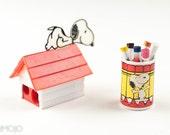 Rare Vintage Snoopy color pencil set and Pencil Sharpener 1970s Peanuts red stocking stuffer rainbow for kids art set school