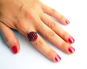 Cherry red beaded bead ring