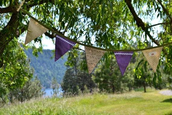 CLEARANCE SALE // 60% off - Country Chic Lilac Fabric Bunting Banner