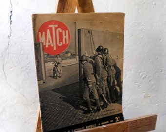 Antique Paris Match, Vintage French Magazine, 1939 Journal, WW2 photographs, Second world war photos, historical Journal Thirties