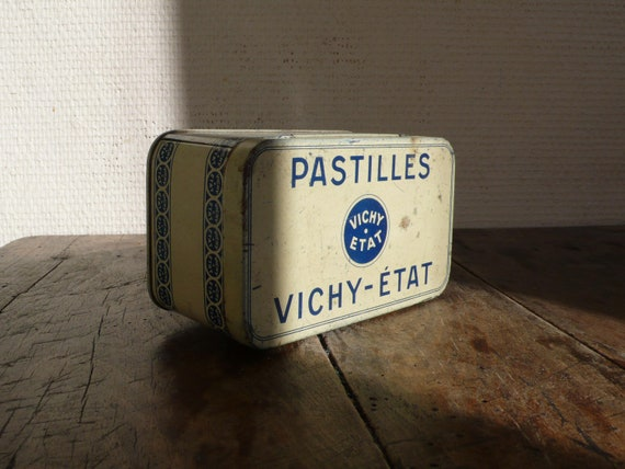 Vintage tin, french, metal, vichy,candy tin, pastilles,   French vintage housewares