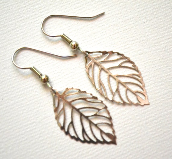 Silver Filigree Leaves . Earrings . Small . Autumn Leaves Collection