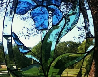 Beveled Stained Glass Iris Flower Panel