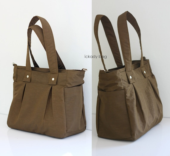 SALE - Water-Resistant Brown Nylon Bag / Messenger / Tote / Diaper bag / Work bag / 3 Compartments - 10% off