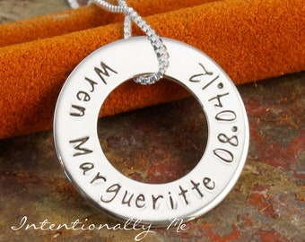 Hand Stamped Mommy Jewerly - Personalized Mommy Washer - Sterling Silver Necklace - Simplicity Eternity Circle