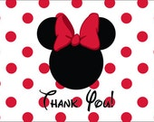 Minnie Mouse Thank You Card in Red