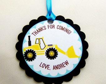 Construction Truck Favor Tags