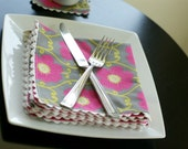 Cloth Dinner Napkins, Magenta and Gray Trimmed in White, Set of 4