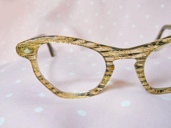 Cateye Glasses 50s Vintage Sparkle-Embedded Plastic Eyeglass Frames