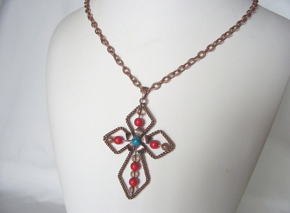 Sale cross necklace copper vintage inspired October trends fall fashion great gift idea