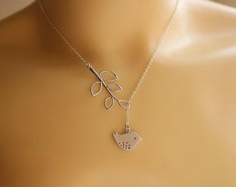 silver bird branch necklace - bird branch lariat necklace