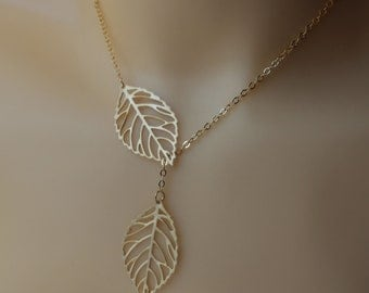 gold Leaf Necklace , Leave necklace , Double leaf necklace ,leaf lariat