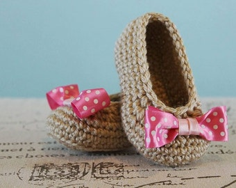 Bow Crochet Baby Booties - CUSTOM OPTIONS AVAILABLE